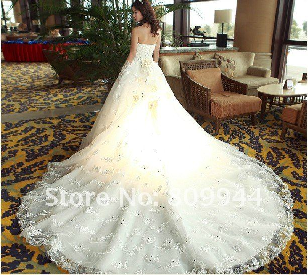 high end bride and a long tail, lace wedding dress princess tail ...
