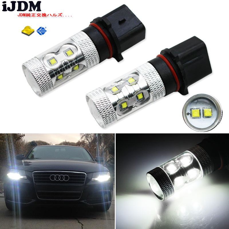 iJDM No Errors 6000K White 50W P13W CRE'E LED Bulbs DRL For 2008-12 Audi B8 model A4 or S4 with halogen headlight trims 2x no errors xenon white 50w p13w c ree led bulbs drl for 2008 12 audi b8 model a4 or s4 with halogen headlight trims