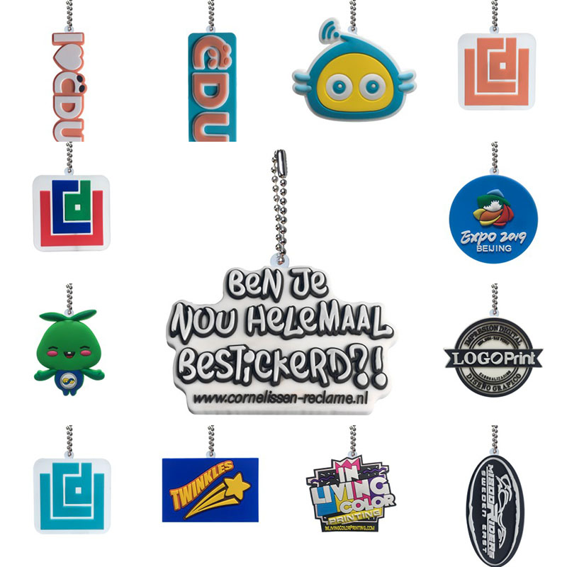 Personalized Customization PVC Ball Chain Key chains Your Own Design Business Logo Custom Design Metal Ball chain for wholesale-in Key Chains from Jewelry & Accessories
