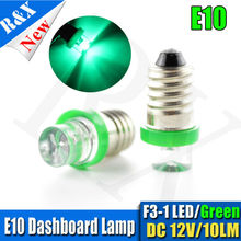 2xLED 12V F3 E10 1LED BULB Concave shape for FLASHLIGHT TORCH HEAD LAMP BICYCLE Green(China)