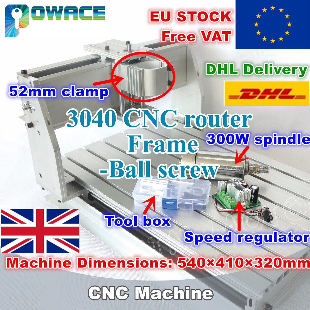 [EU STOCK/FREE VAT] 3040 Desktop CNC Router Milling Machine 52mm mechanical  kit ball screw with speed regulator&300w spindle