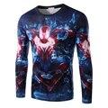 2016 primavera novo estilo fino homens T Shirt dos homens homem de ferro impresso t-shirt 3D moda de manga comprida topo camisetas casuais T - camisa 14M16