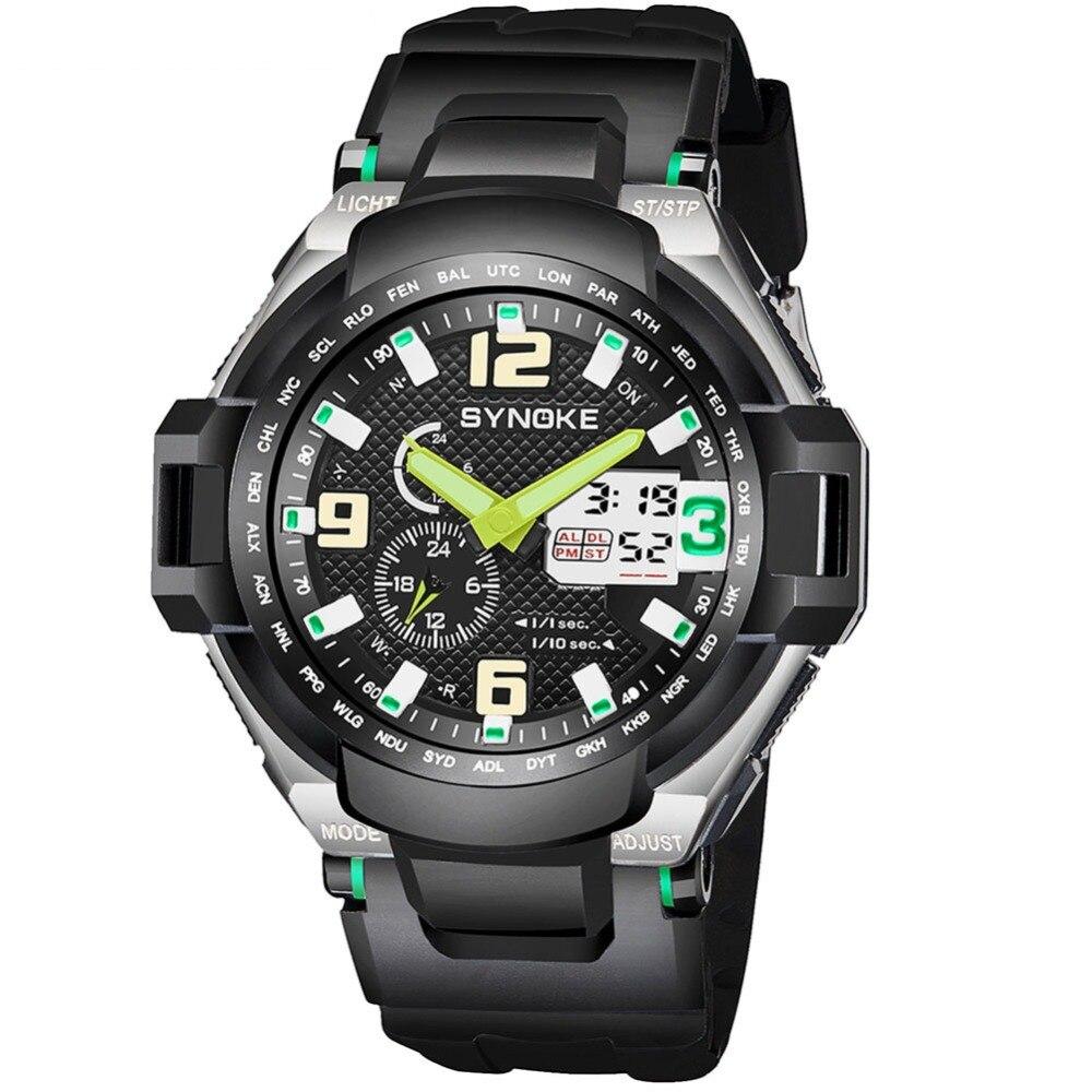 Мода двойной Дисплей светодиодный цифровые часы мужские наручные часы черный Сигнализация 50 м Водонепроницаемый спортивные часы для Для м...