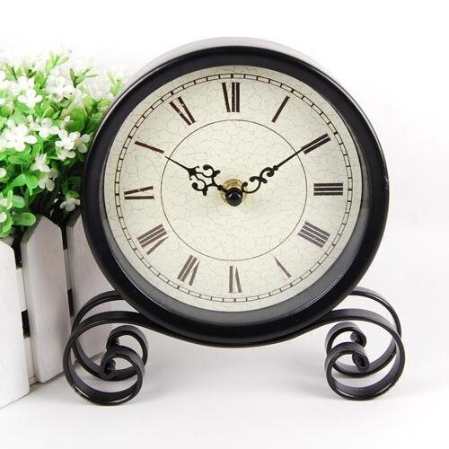 Vintage Black Metal Art Table Clock Watch Desktop Clock Vintage 18.5*15*4Cm