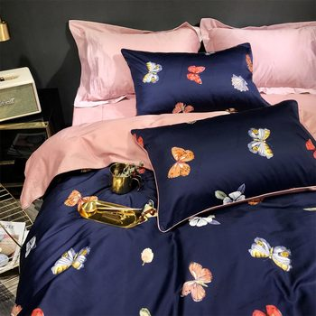 Modern colorful butterfly bedding set adult teen,full queen king cotton 60s retro home textile bed sheet pillowcase quilt cover