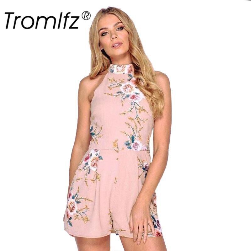 Tromlfz Summer Women's Sexy Print Flower Hanging Neck Sleeveless Zipper Loose Short Jumpsuit Ladies Elegant Beach Rompers