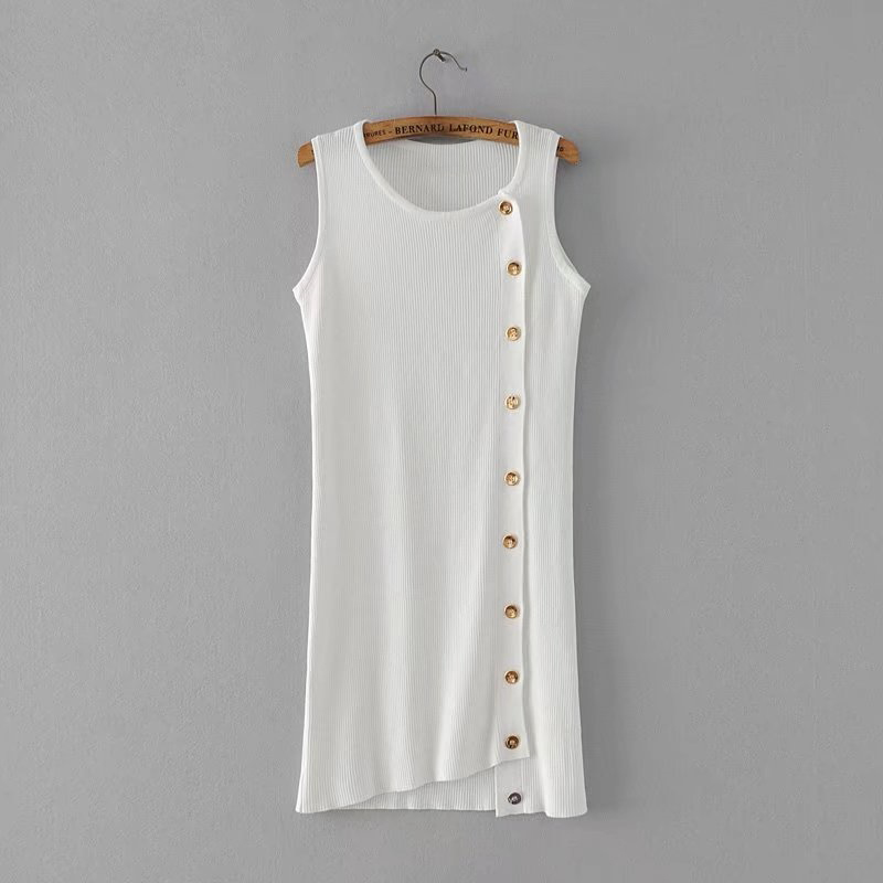 2017 Summer Temperamental Famous Woman IrregularKnitted Vest Dress Front Single Breasted Design Sleeve Mid-calf Dress все цены