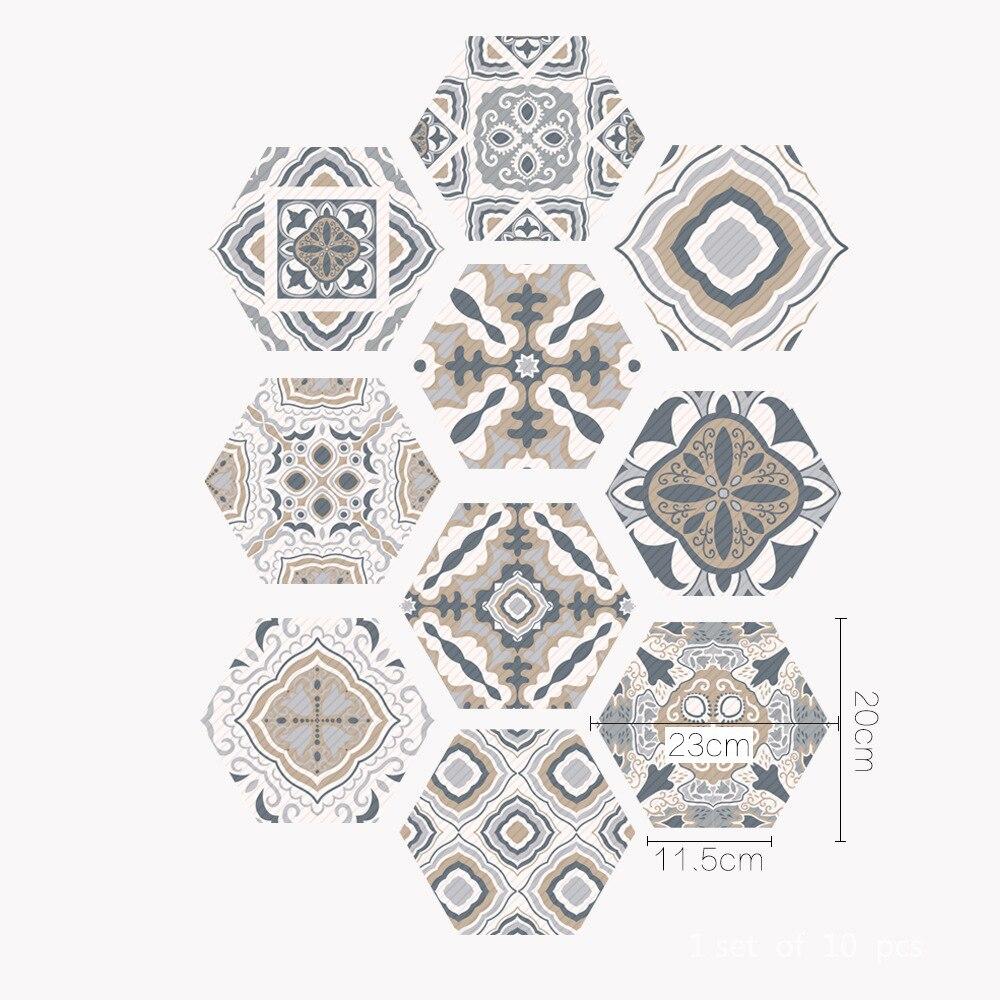 10pcs/lot Hexagon Arabian Tile Stickers Self Adhesive Floor ...