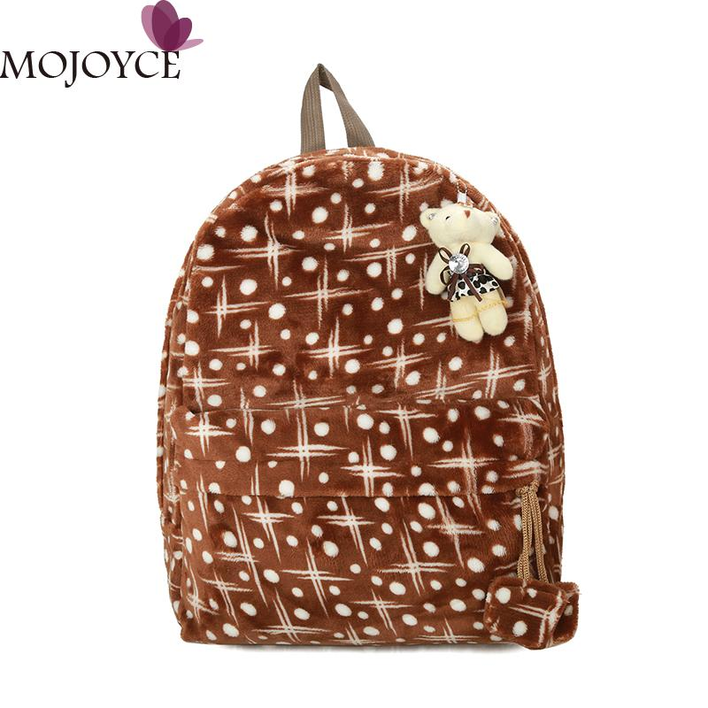 Fashion Women Plush Backpack Preppy Style School Backpack Bag College Casual Travel Bag Soft Student Bags Lovely Mochila Bagpack