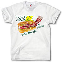 ZOMBIE EAT FLESH SHIRT S - XXL FUNNY PARODY EAT HORROR HALLOWEEN FAST FOOD T-shirt 2018 Hot Sale New Men'S T Shirt