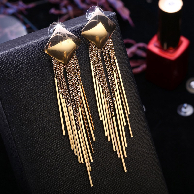 1pair Fashion Exaggerated <font><b>Long</b></font> Gold Large <font><b>Earrings</b></font> Square <font><b>Sexy</b></font> Vintage Tassel <font><b>Earrings</b></font> Jewelry For <font><b>Women</b></font> Best Gift image