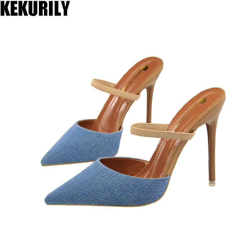 Shoes Woman denim Pointed toe Slippers Mules high heels Slides ladies slip on Sandals fashion zapatos mujer Light blue Dark blue