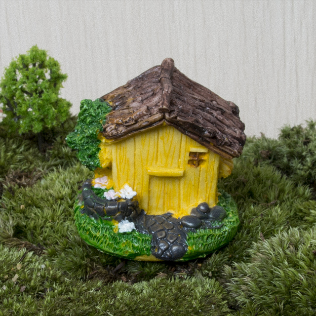 Mini Cottages Miniatures Cottage Terrarium Fairy Garden Gnome Moss Resin  Decorations For Home And Garden Diy