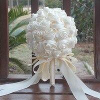 Ivory Satin Ribbon Rose Bouquet Custom Wedding Bouquets De Mariage Wedding Flowers Bridal Bouquets Buque De Noiva