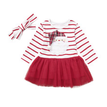 Newborn Dresses Clothes Infant Baby Girls Winte Cartoon Santa Christmas XMAS Striped Tutu Tulle Dress Outfits vestido de festa
