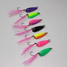 7 colors 14pcs/lot fishing spoon lure 2.8cm/2.5g feather single hook metal VIB bait artificial lure spoon swim bait trout lure