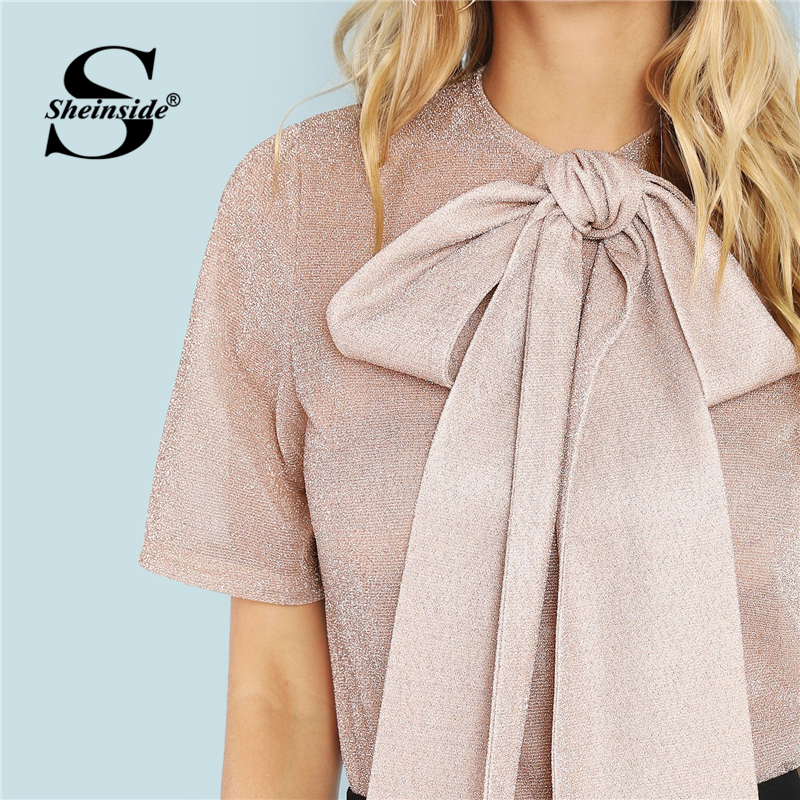 44b26c91be0 US $8.98 40% OFF|Sheinside Pink Exaggerate Bow Tie Neck Glitter Mesh Top  Women Blouse Shirt 2019 Summer Short Sleeve Womens Tops And Blouses-in ...