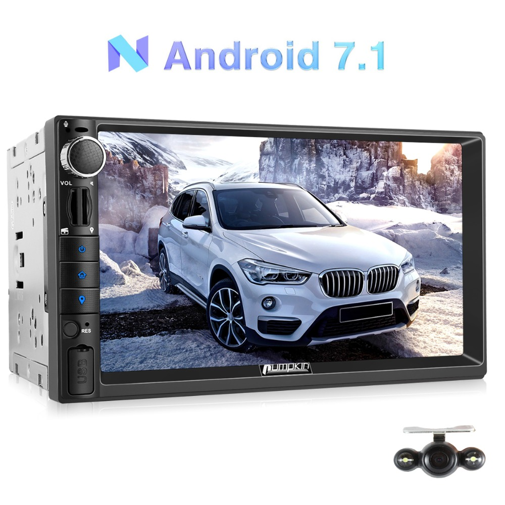 Pumpkin Android 7.1 Car Stereo 2 Din Universal Car Radio GPS Navigation Quad Core Wifi 3G Audio Video Player No DVD With Camera