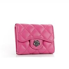 women wallet long sheepskin brief paragraph mini wallet high grade ling buckles 3 fold leather short