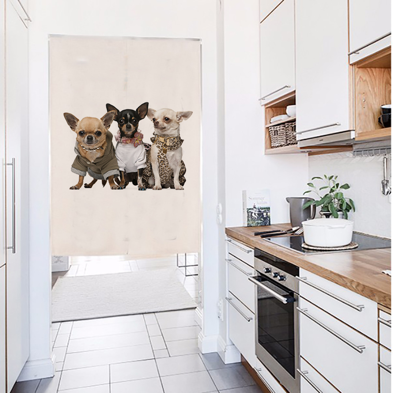 cute dogs printed New Linen NOREN Japanese Style Door Curtain 85x120cm 85x90cm in Curtains from Home Garden