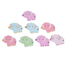 Scrapbooking Accessory Multicolor Tartan Design Elephant Shape 2 Holes Wood Buttons Fit Sewing 3.1×2.55cm 30PCs