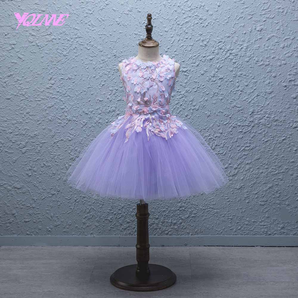 YQLNNE Lilac Ball Gown Flower Girl Dresses Floor Length Communion Party Dress Vestido Daminha