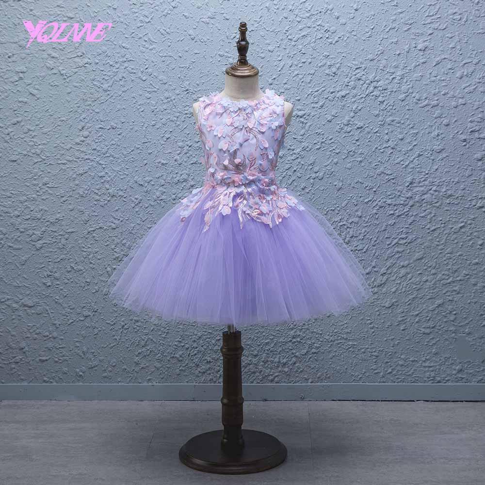 YQLNNE Lilac Ball Gown   Flower     Girl     Dresses   Floor Length Communion Party   Dress   Vestido Daminha