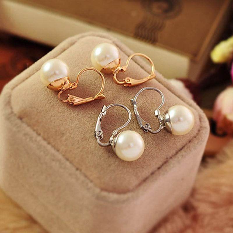 Trendy Sleek Big Simulated Pearl Ball Pendant Gold Silver Plated Drop Dangle Earrings for Women Fashion