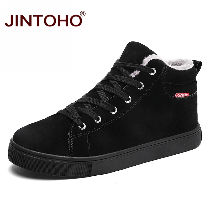 JINTOHO Big Size Black Mens Winter Shoes Fashion Men Winter Boots Ankle Warm Snow Boots For Men Casual Snow Shoes For Men