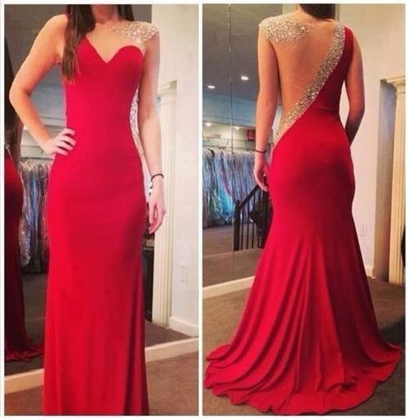 Vestidos de baile 2017 de la Llegada de Largo Rojo Equipada Sirena Nueva Moldead