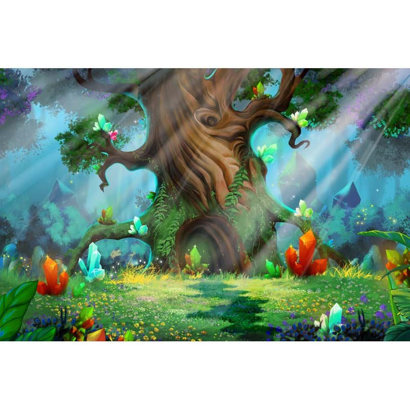 Seamless Vinyl Photography Background Fairy Tale Magic Forest Gem Computed Printed Children