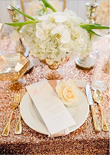 120 Rose Gold Sequin Tablecloth,Wholesale Wedding Beautiful Rose Gold Sequin Table Cloth / Overlay /Cover