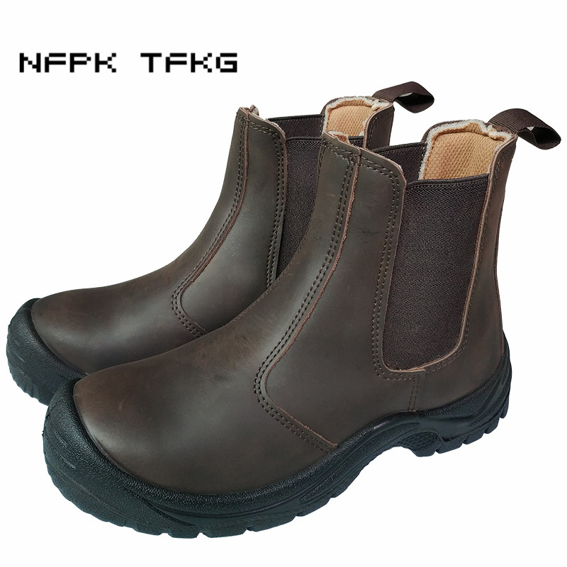 Office & School Supplies England Style Mens Casual Breathable Steel Toe Caps Working Safety Shoes Anti-puncture Cow Leather Security Ankle Boots Protect