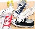 Nuevo 2016 Hot Summer estrella plana toe ata para arriba Alrededor de Los Hombres Zapato Parejas Unisex de Lona Ocasional Zapatos de las mujeres