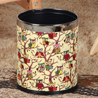 Newest Design Retro PU Leather torage Bucket Trash Can Wastebasket Paper Basket Trash Can Dustbin Garbage Bin Home Office