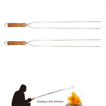 Meat Skewers BBQ Stick BBQ Grill Fork Needle With Wooden Handle Overlong Outdoor Stainless Steel Camping Roast Chicken BBQ Tools