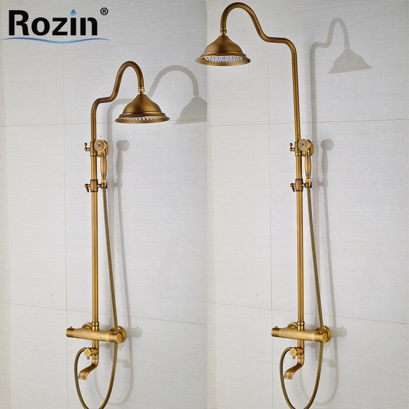 Dual Handle Thermostatic Shower Faucet Wall Mounted Tub Filler 8 Brass Rainfall Shower Set Mixer Tap with Hand Shower