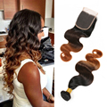 8a Brazilian Body Wave Closure Cheap Ombre Wet And Wavy Human Hair Weave Dark Brown Bundles With 4*4 Free Part Closure Very Soft
