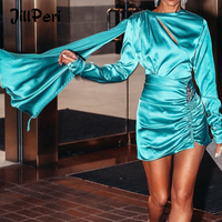 JillPeri Women Belly Mini Dress High Waist Satin 2 Layers Back Open Sexy Outfit Crystal Diamond Dropped Fly Ruched Party Dress