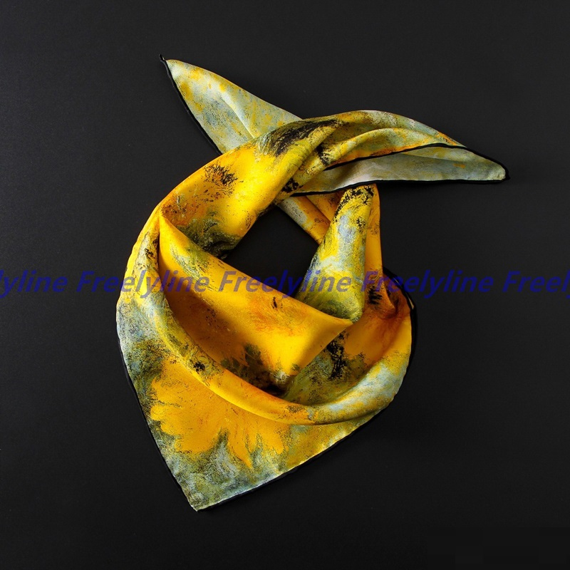 Oil Painting 100% Silk Bandana Neckerchief Women Small Square Silk   Scarves     Wraps   Luxury Hand Roll Edge 53x53cm
