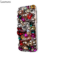 2015 High Quality Attractive Vivid Colorful Crystal Diamond Rhinestone Phone Case Handmade Back Cover For Iphone