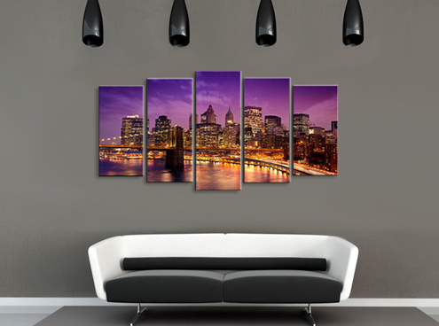 high quality 100%handmade landscape oil painting on canvas Modern home decoration wall art City Night Scenes 3pcs