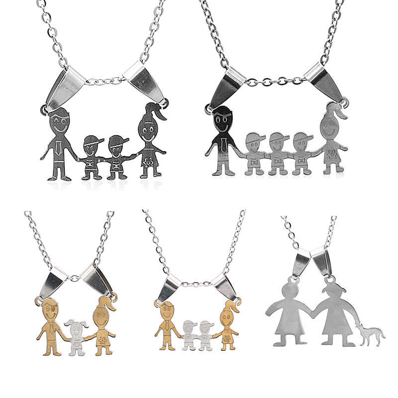 Overall stainless steel Necklace Mama Family Necklaces Jewelry Silver Color Love Boy Girl Pendant Choker Necklace Women Gift
