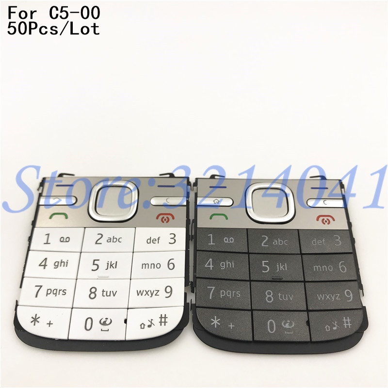 50Pcs/Lot Original High quality For <font><b>Nokia</b></font> <font><b>C5</b></font> <font><b>C5</b></font>-00 Mobile Phone <font><b>Housing</b></font> English Keypad Cover Keyboard case image