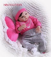 NPK 57CM Pink Strawberry Full Body Silicone Girl Reborn Babies Doll Toys Princess Babies Doll Wig Hair Birthday Gift Xmas gift