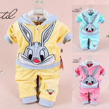 Baby Girls Clothing Set 2019 Cartoon Rabbits Velvet Hooded Hoodies + Pants Two Piece Suits Kids Bebes Jogging Outfits Tracksuits(China)