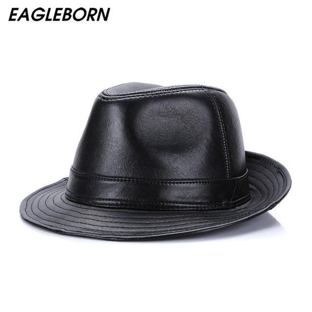 e9157d8ed117d5 Winter Genuine Leather Wide Brim Stetson Fedoras British Hats For Men/Women  Gentman Black 56