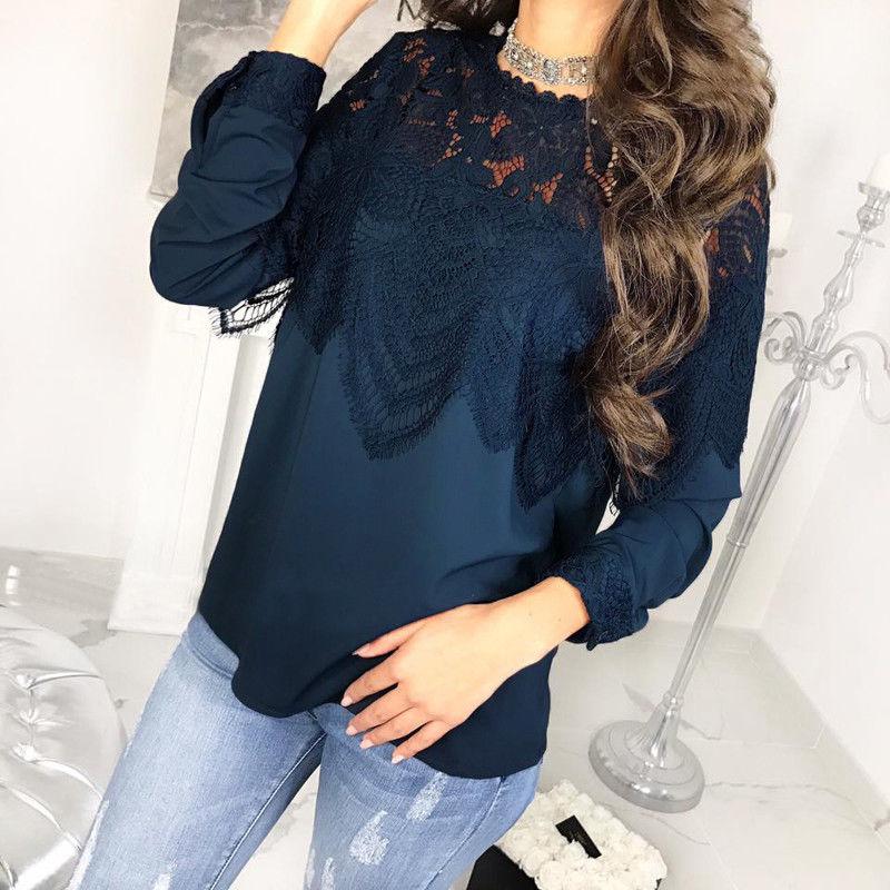 Patchwork 2018 Nouveau De T Chemise Automne blanc Longues Pull Bleu Tops Lâche Vêtements Mode Décontractés shirts cou Blouse Dentelle Manches O À Femmes rOqnXr