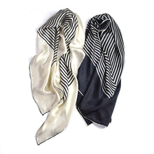 Women'S Gift Autumn And Winter Silk Scarf With Black And White Stripes Soft, Comfortable And Skin-Friendly High-Quality Scarf black and white marled knit scarf