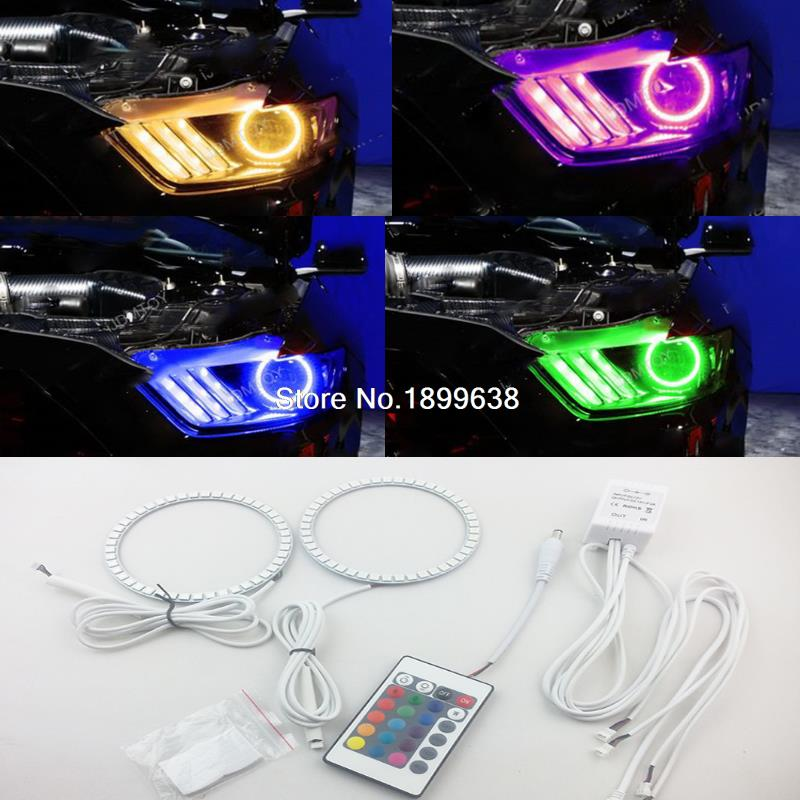 2pcs/set RGB 7-Color LED Angel Eye Halo Rings For 2015-up Ford Mustang Headlight Projectors